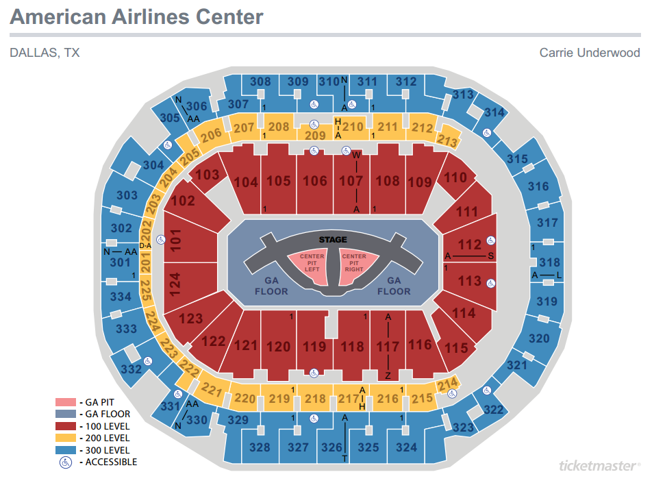 Carrie Underwood Seating Map