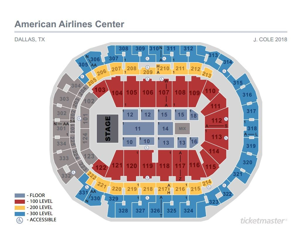 J Cole Seating Map