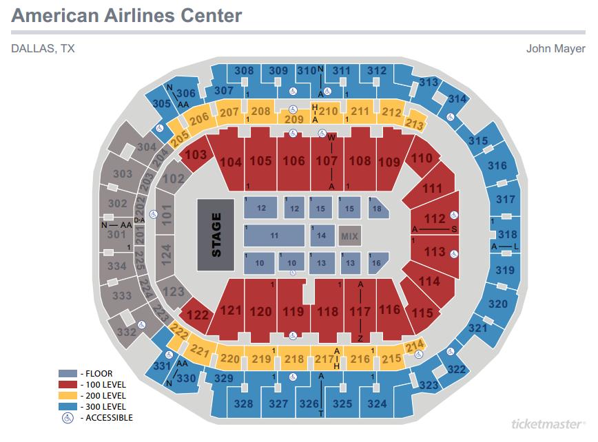 John Mayer Seating Map