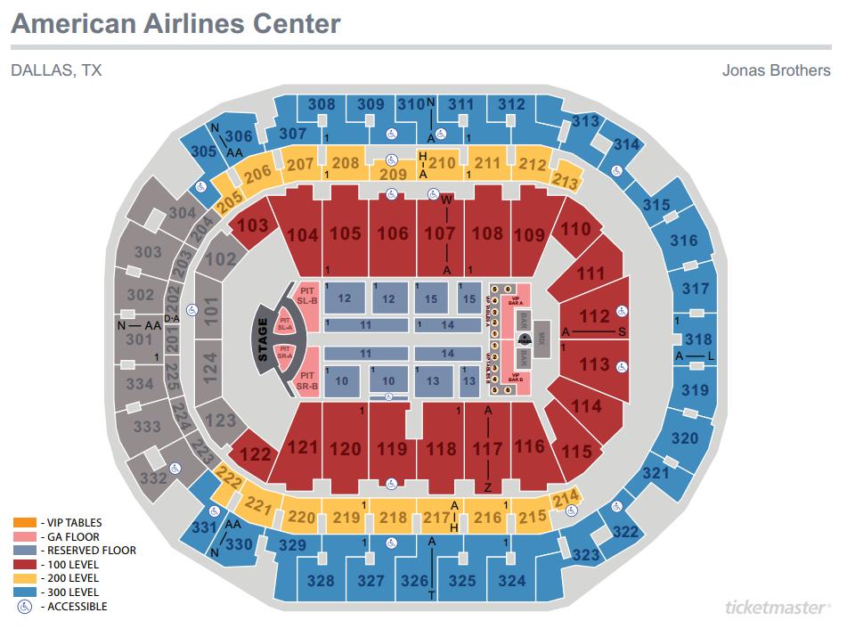 Jonas Brothers Seating Map