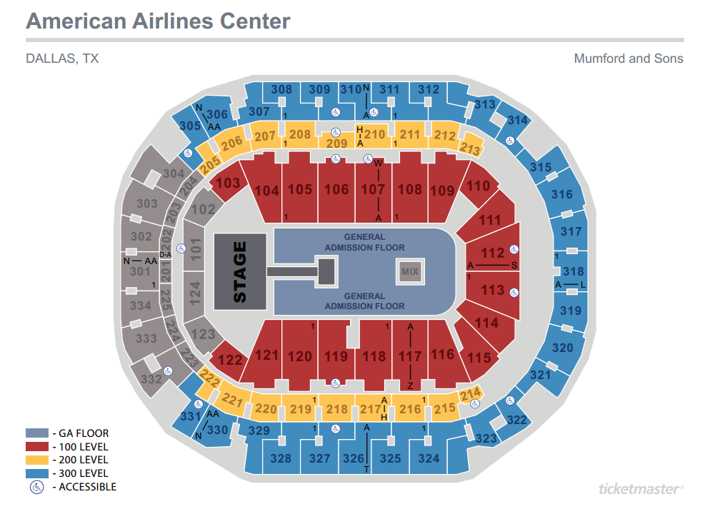 Mumford and Sons Seating Map