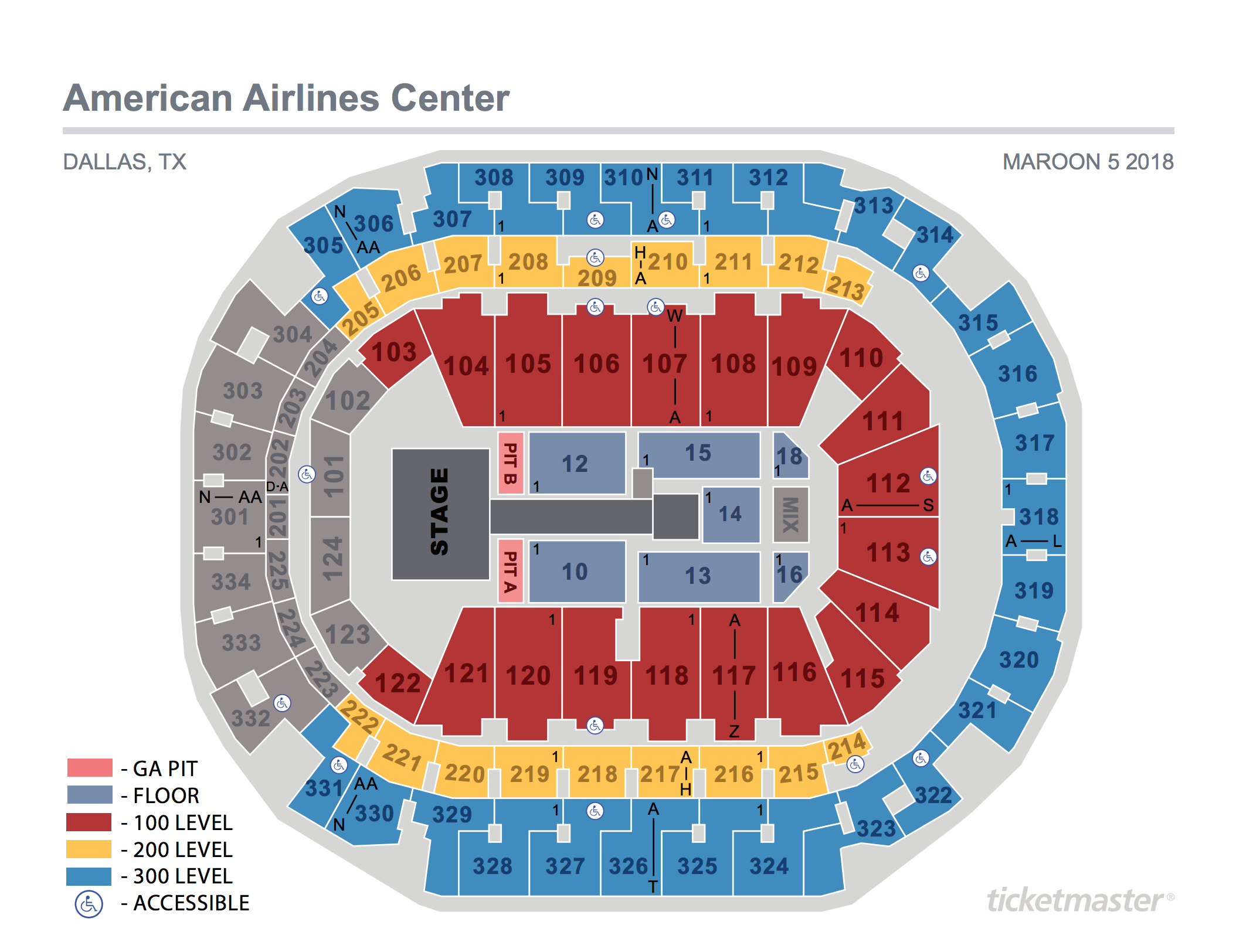 Maroon 5 Seating Map