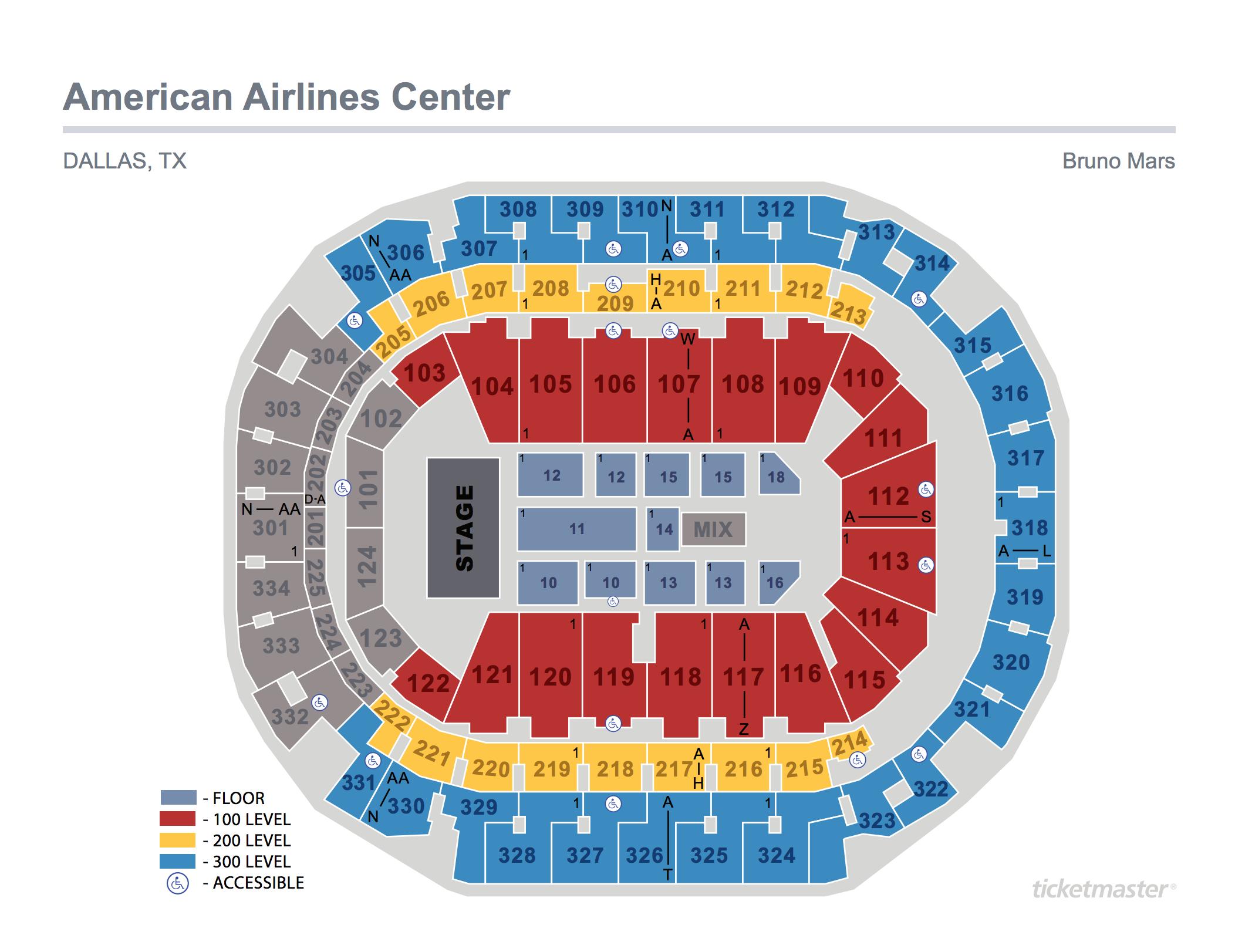 Bruno Mars Seating Map