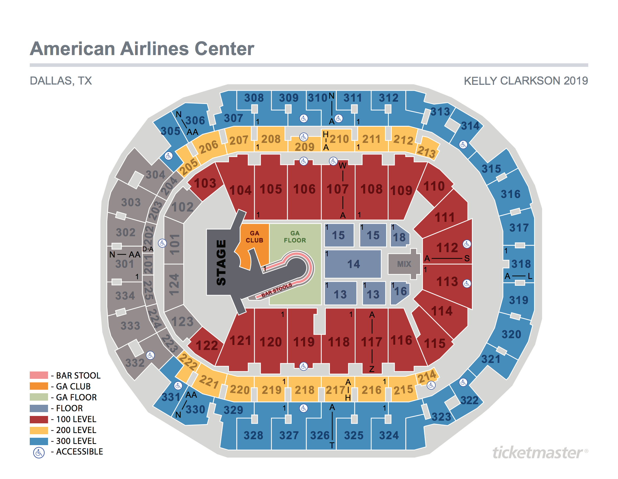 Kelly Clarkson Seating Map